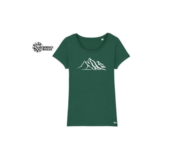 Berge auf flaschengrünem T-Shirt