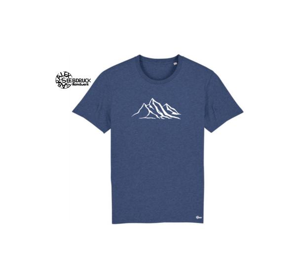 weiße Berge auf blau meliertem T-Shirt