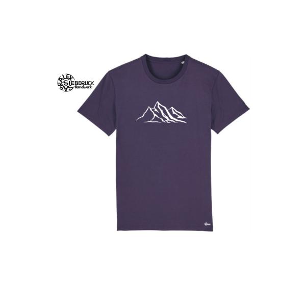 weiße Bergkette auf violettem T-Shirt