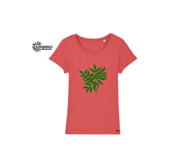 Grüne Blätter auf rot melierten damen T-Shirt