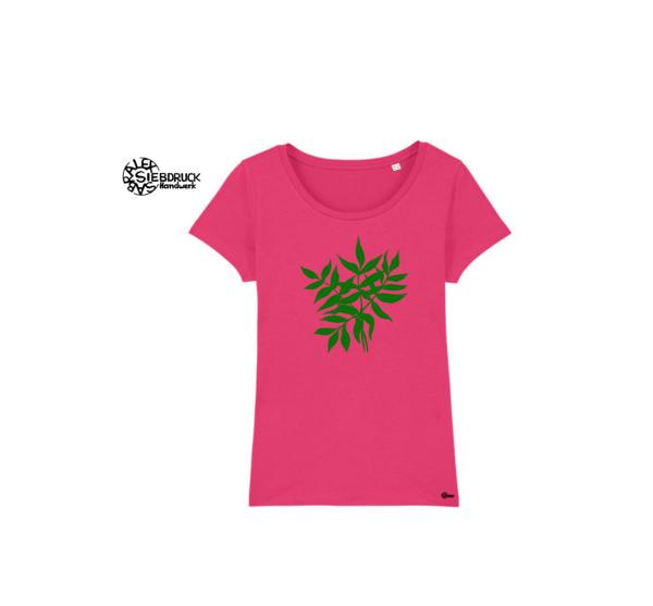 Grüne Blätter auf rosa damen T-Shirt