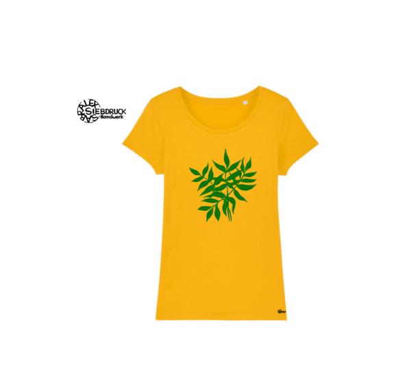 gelbes T-Shirt mit grünen Blättern