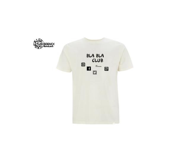 sozial media bla bla club auf weißem T-Shirt
