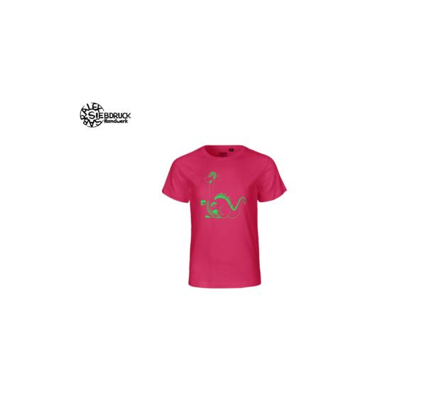 grüner Dino auf rosa Kindershirt