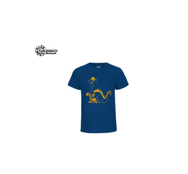 oranger Dino auf blauen T-Shirt