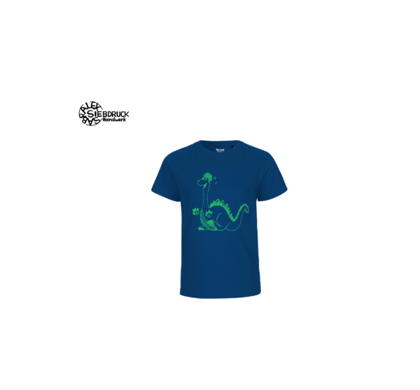 grüner Dino auf blauem T-Shirt