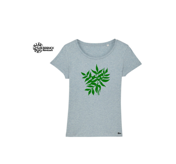 grüne Blätter auf grau-blau meliertem T-Shirt