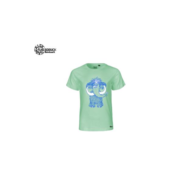 Mammut blau auf minzfarbenen T-Shirt