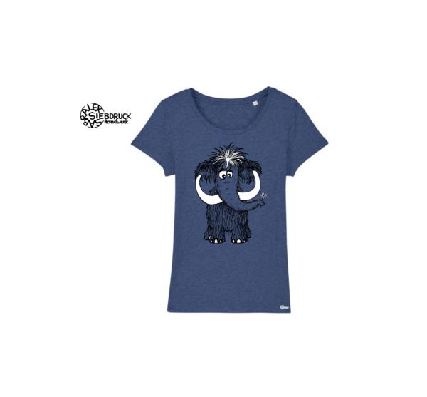Mammut auf blau meliertem T-Shirt