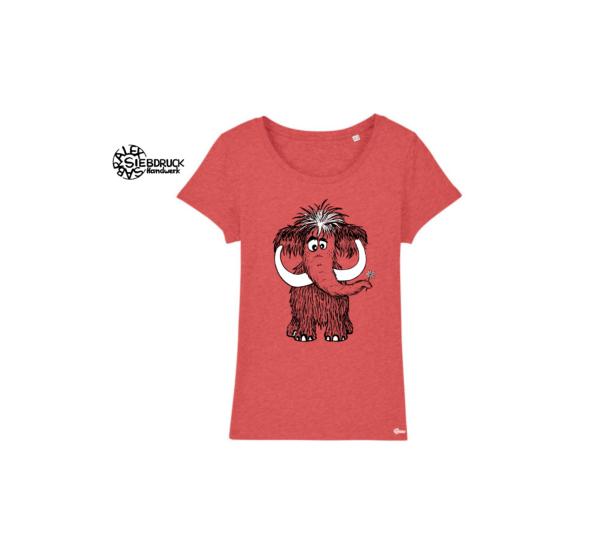 Mammuth auf orange-meliertem T-Shirt