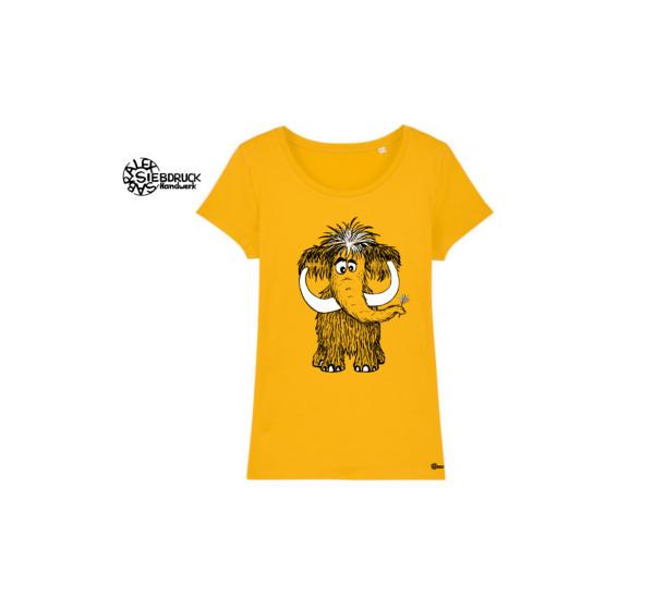 süßes Mammut auf gelben Frauen T-Shirt