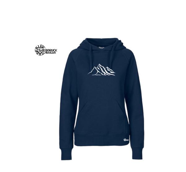 berge auf blauem hoodie ladies