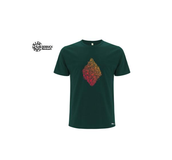 flaschengrünes Bioshirt mit rotem Farbverlauf