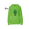 Limettenfarbenener Hoodie mit grünem Baum und Radl