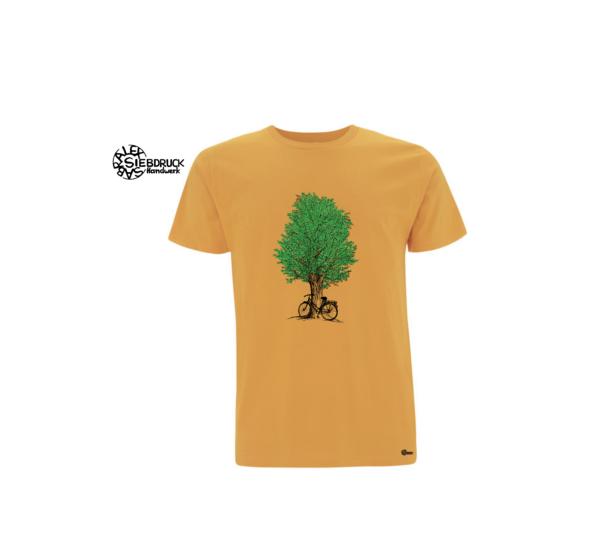 grüner Baum und Radl auf gelbem T-Shirt