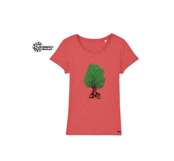 grüner Baum und Fahhrad auf orangenem T-Shirt