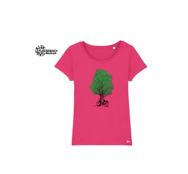 grüner Baum und Fahhrad auf rosa T-Shirt