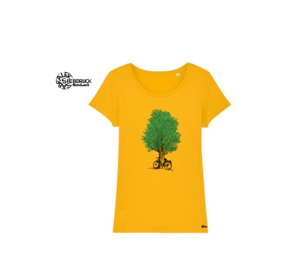 grüner Baum und Fahhrad auf gelbem T-Shirt