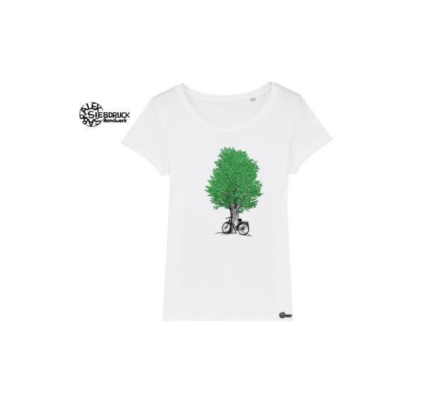 weißes Bioshirt mit grünem Baum und Radl