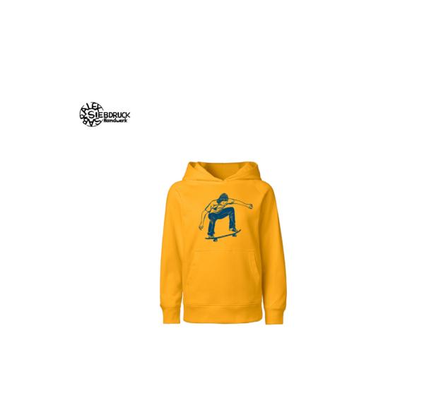 blauer Skater auf gelbem Hoodie Kids