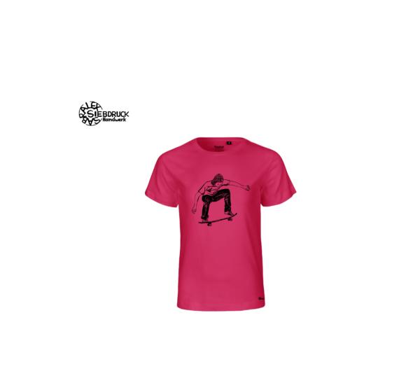 Skater auf pinkem Kinder T-Shirt