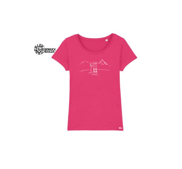 Skitour auf rosa t-Shirt