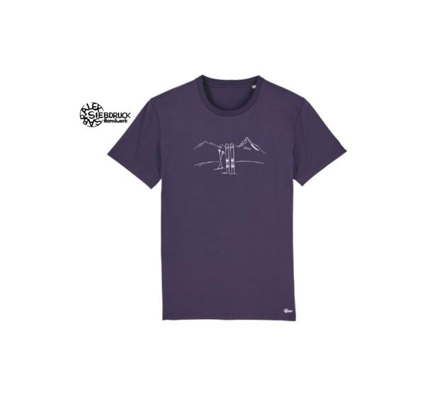 Skitour berge auf violettem Männer T-Shirt