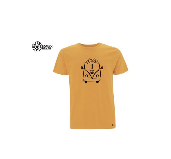 surfer hippiebus auf mango farbenen T-Shirt