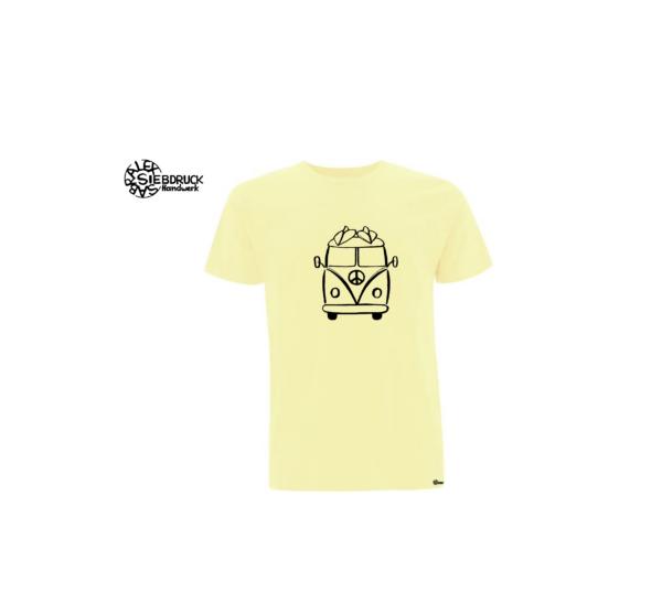 surfer hippiebus auf pale lemon farbenen T-Shirt