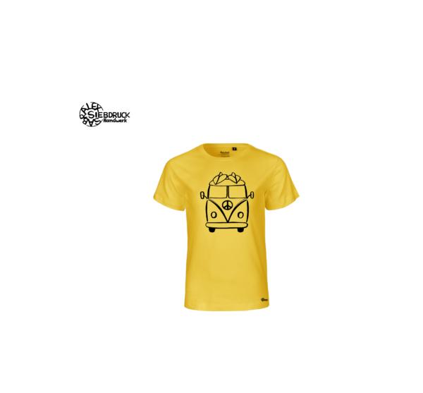 hippiebus auf gelben Kindershirt