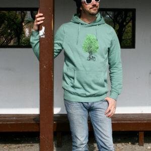 Hoodie 100% Biobaumwolle 'Radl am Baum'