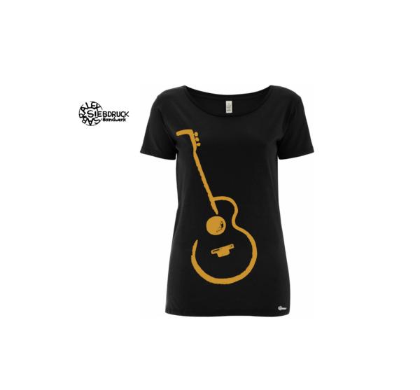 goldene Gitarre auf schwarzem T-Shirt