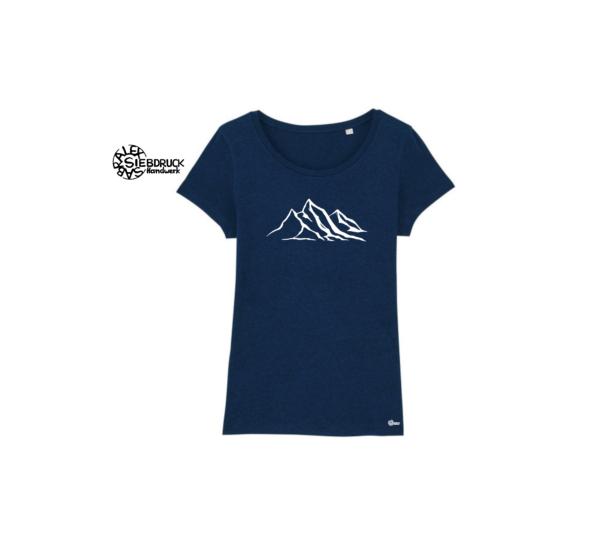 bergkette auf dunkelblau meliertem T-Shirt