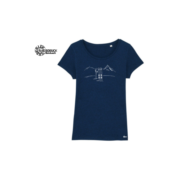 Skitour auf Biobaumwoll T-Shirt dunkelblau