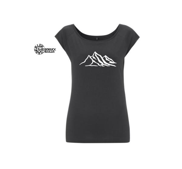 bergkette auf graphit ladies t-shirt